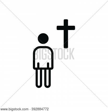 Black Solid Icon For Devote Prayer Religion Miracle Christian Church Mythology Belief Ritual Venerat