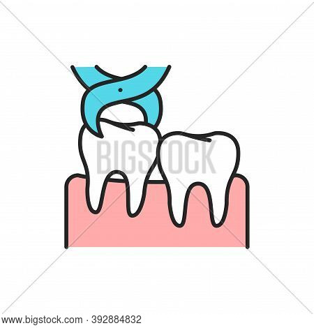 Wisdom Tooth Extraction Color Line Icon. Pictogram For Web Page, Mobile App, Promo.