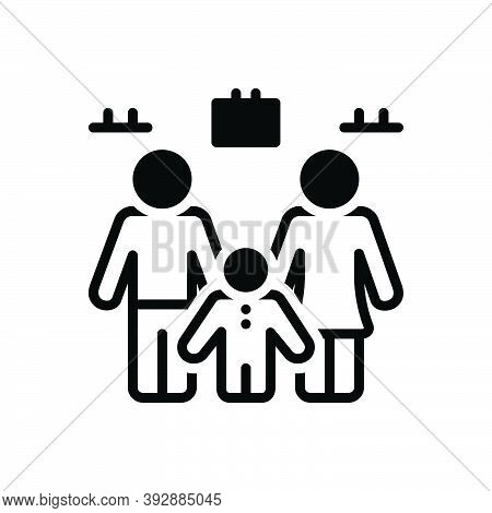 Black Solid Icon For Household Person Human Family Menage Home House Husband Child Wife Woman