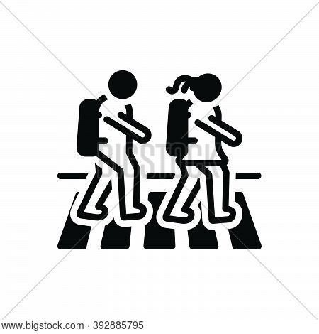 Black Solid Icon For Child-cross-zebra-crossing Pedestrian Child Cross Student People Zebra Crossing