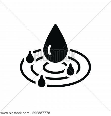 Black Solid Icon For Pure Drop Droplet Water Clean Drinkable Fresh Beverage Nature