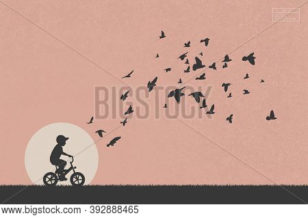 Boy On Bike And Pigeons In Park. Isolated Silhouette Of Child On Bicycle And Flocks Of Birds. White