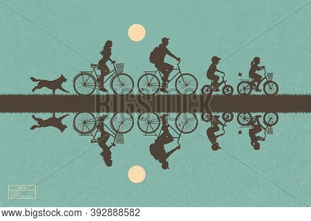 Family On Bikes In Park. Visolated Silhouette Of Cyclists And Running Dog. Active Lifestyle Of Paren