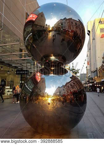 Adelaide, Australia - October 6, 2016: People Reflected In The Spheres, Large Stainless Steel Balls
