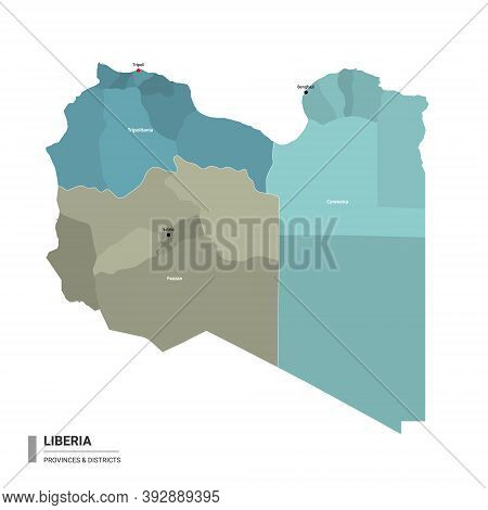 Libya Higt Detailed Map With Subdivisions. Administrative Map Of  Libya With Districts And Cities Na