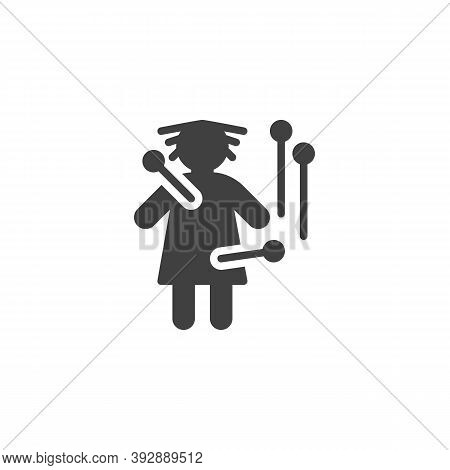 Voodoo Doll Vector Icon. Filled Flat Sign For Mobile Concept And Web Design. Voodoo Doll With Pins G
