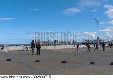 Waterfront Of Punta Arenas Running Along The Magellan Strait In Patagonia, Chile