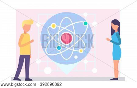 The Structure Of The Smallest Particle. The Image Of The Graphic Model Of The Atom. Physics Lesson.