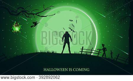 Halloween Is Coming, Beautiful Horizontal Greeting Postcard With Green Halloween Landscape, Werewolf