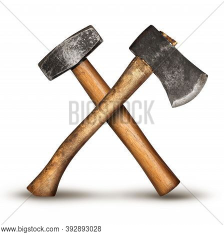 Realistic Diy Old Hammer And Axe Tools Crossed For Get The Job Done Service Concept, Isolated On Whi