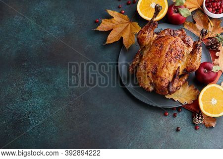 Roasted Turkey Or Chicken For Thanksgiving Dinner. Holiday Preparation.