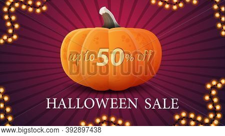 Halloween Sale, Up To 50 Off, Modern Discount Banner With Big Halloween Pumpkin Which Cut Up To 50 O