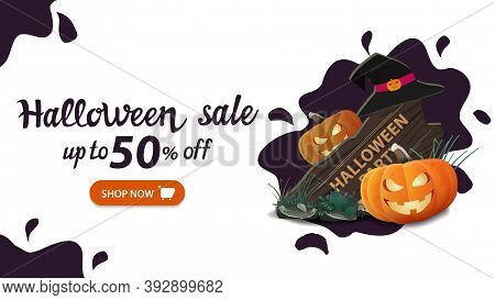 Halloween Sale, Up To 50 Off, White Horizontal Discount Web Banner With Water Drop Minimal Design, W