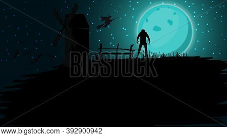 Halloween Background, Full Blue Moon, Starry Sky, Old Mill, Bats And Werewolf. Halloween Background