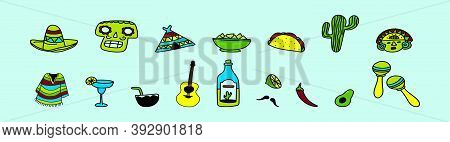 Set Of Cinco De Mayo Element Cartoon Icon With Various Models. Vector Illustration Isolated On Blue