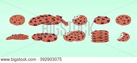 Set Of Chocolate Crumbs Chips Cartoon Icon Design Template With Various Models. Vector Illustration