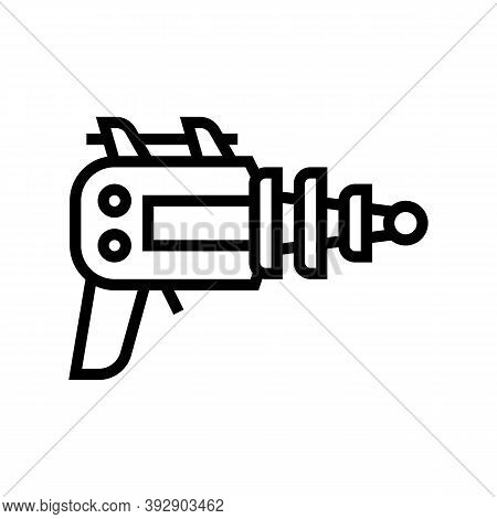 Futuristic Weapon Geek Line Icon Vector. Futuristic Weapon Geek Sign. Isolated Contour Symbol Black