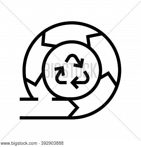 Recycling And Circular Economy Line Icon Vector. Recycling And Circular Economy Sign. Isolated Conto