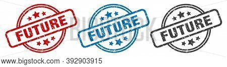 Future Stamp. Future Round Isolated Sign. Future Label Set