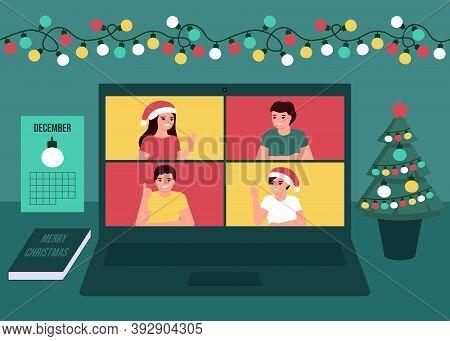 Group People Communication Online Together On Christmas Holiday. Decoration Fir, Lightbulbs Desktop
