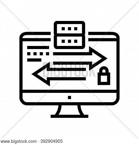 Data Exchange Between Servers Line Icon Vector. Data Exchange Between Servers Sign. Isolated Contour