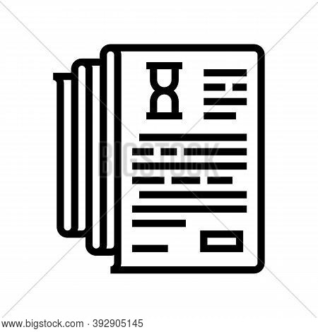 Documentation Lists Heap Line Icon Vector. Documentation Lists Heap Sign. Isolated Contour Symbol Bl