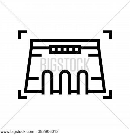 Dam Modeling Line Icon Vector. Dam Modeling Sign. Isolated Contour Symbol Black Illustration