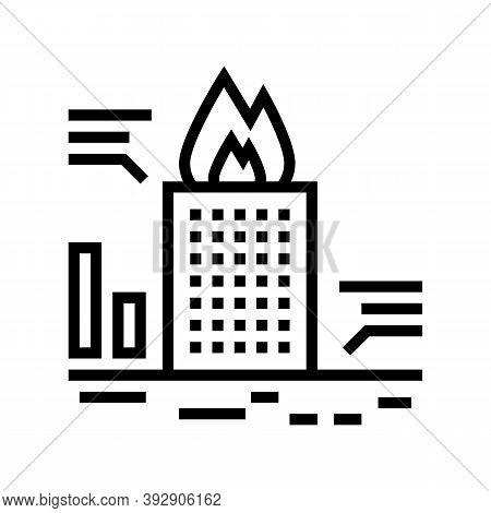 Skyscraper Fire Test Line Icon Vector. Skyscraper Fire Test Sign. Isolated Contour Symbol Black Illu