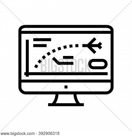 Flight Path Computer Simulator Line Icon Vector. Flight Path Computer Simulator Sign. Isolated Conto