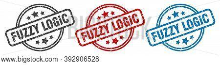 Fuzzy Logic Stamp. Fuzzy Logic Round Isolated Sign. Fuzzy Logic Label Set