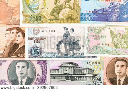 North Korea Won Banknotes Background. High Resolution Vintage Photo Of North Korean Bill 3, Dprk Mon