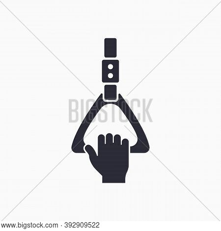 Transport Handrail. Human Holds On To The Handrail. Hand Holding Handrail Icon.