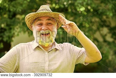 Used To Be Cowboy. Guy Bearded Cowboy In Nature. Grandpa Rustic Style Clothes And Cowboy Hat. Cheerf