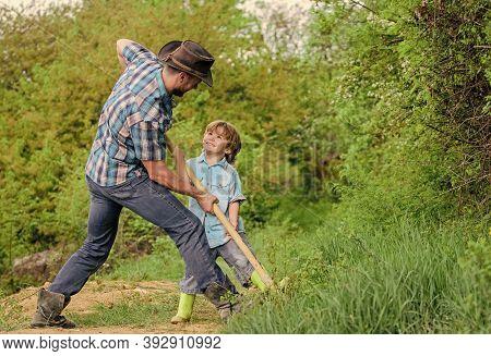 Spirit Of Adventures. Adventure Hunting For Treasures. Little Helper In Garden. Cute Child In Nature