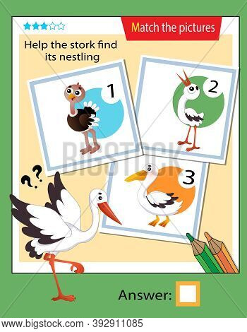 Matching Game, Education Game For Children. Puzzle For Kids. Match The Right Object. Help The Stork