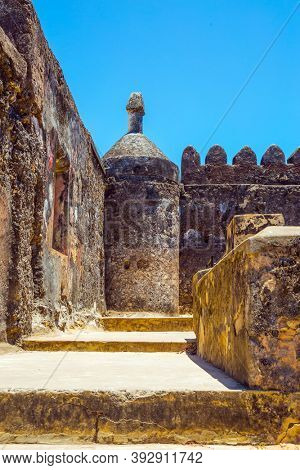 Corner bastion. Fort Jesus -  medieval fortification in Mombasa, Kenya. UNESCO listed Fort as World Heritage Site. The concept of historical, educational and photo tourism