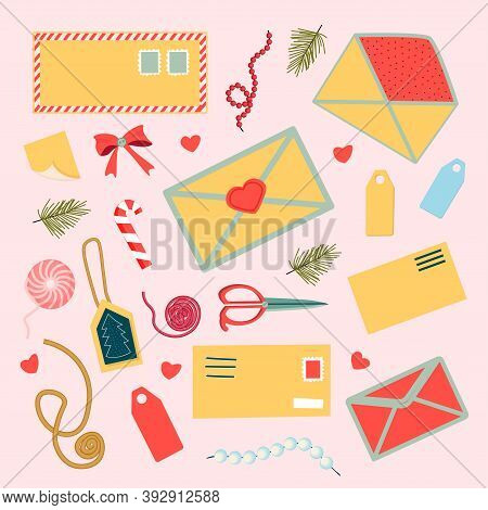 A Set Of Stickers On The Theme Of Postcards And Envelopes. Isolated Hand-drawn Postcards And Envelop
