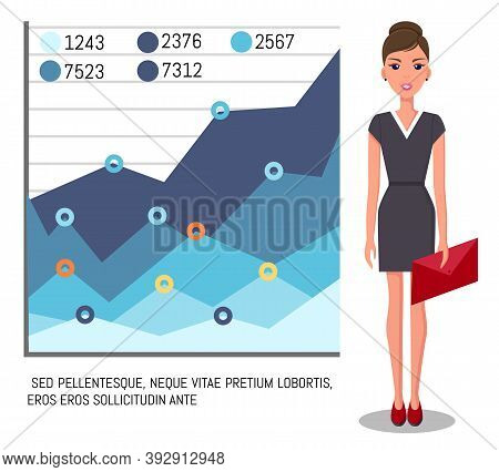 Confident Young Woman Gives A Report, Businesswoman Standing Near Demo Poster With Performance Chart