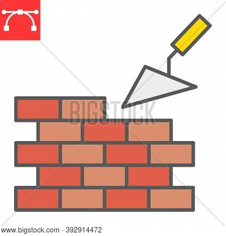 Brickwork Color Line Icon, Construction And Trowel, Build Brick Wall Sign Vector Graphics, Editable