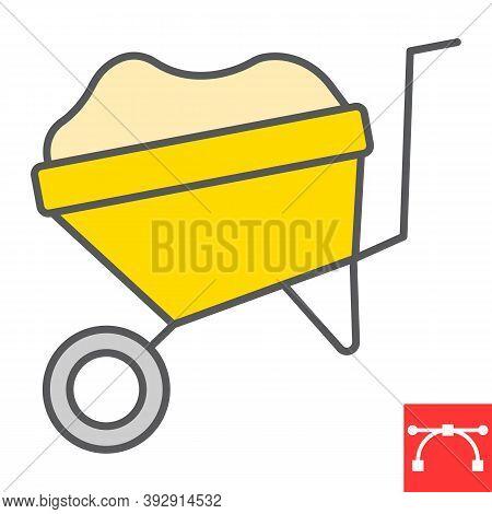 Wheelbarrow Color Line Icon, Construction And Agriculture, Wheel Barrow Sign Vector Graphics, Editab