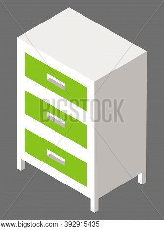 Green Nightstand Or Bedside Table Isolated On Grey Background Isometric Image. Wooden Or Plastic Com