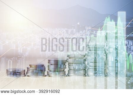 Double Exposure Of Coins Stacking With Investment Graph Chart And Cityscape. It Is Symbol Of Stock V