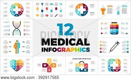 12 Medical Infographic Templates For Your Presentation. Healthcare Concept. Hospital Or Doctor Logo.