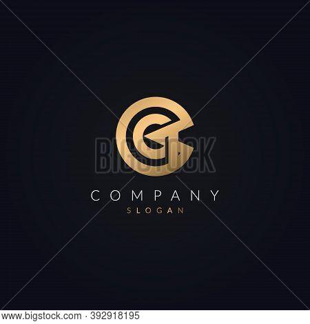 Gq Logo Letter Icon Design Vector Template. Modern Qg Logotype Golden Elements.