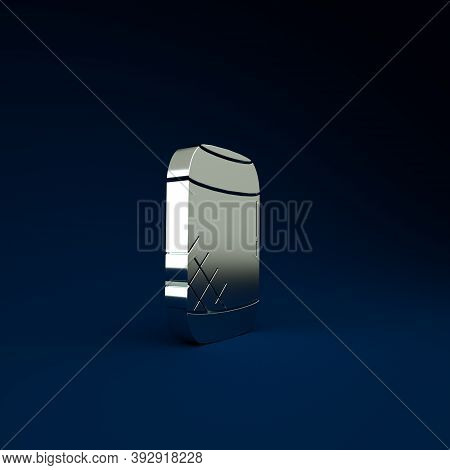 Silver Voice Assistant Icon Isolated On Blue Background. Voice Control User Interface Smart Speaker.