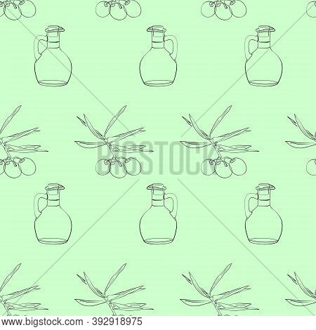 Vector Seamless Pattern Of An Olive Tree Sprig And A Bottle Of Olive Oil. Three Olives On A Branch W