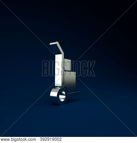 Silver Hand Truck And Boxes Icon Isolated On Blue Background. Dolly Symbol. Minimalism Concept. 3d I