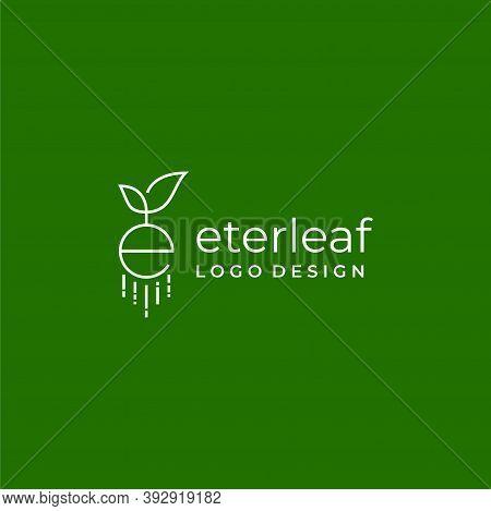 Logo Yang Modern, Unik Dan Sederhana Tentang Daun Dan Huruf E Yang Di Buat Dengan Garis Yang Geometr