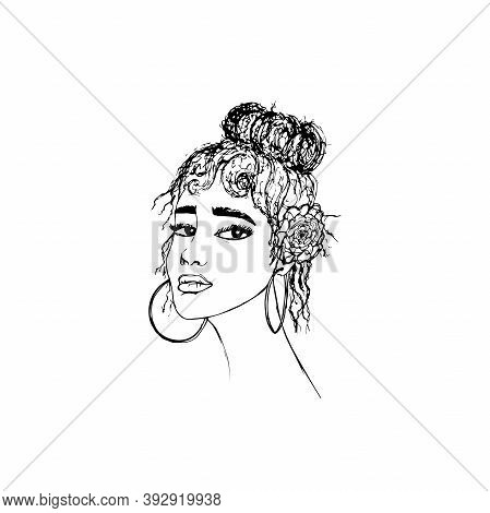 Beautiful Face Of A Young Woman With A Flower In Her Hair. Three-quarters Of The Head Position. Hand