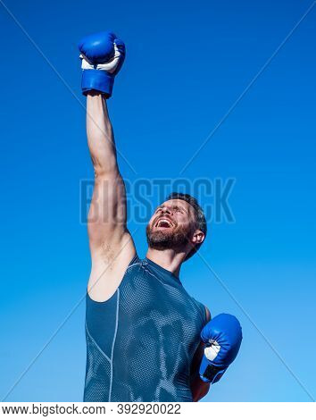 Man Boxer On Stadium. Fitness Gym Outdoor. Muscular Athletic Guy Training In Boxing Gloves. Sport Su